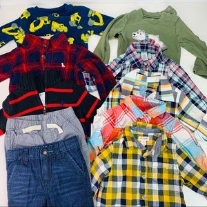 Bundle Shirts Pants Pj & Sweaters Size 12 months